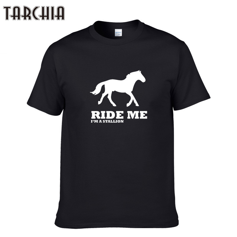 TARCHIA Fashion Brand Vintage RIDE ME T-shirt Letter Printed T shirt Hipster Tshirt High Quality Tops Tee Shirt For Man Homme