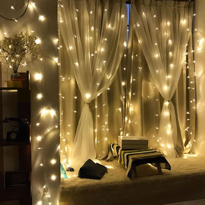 SPLEVISI 220V LED Curtain String 3x2m LED icicle String Light Holiday Wedding Party Christmas Decoration Light