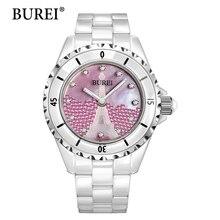 Women watch burei top marca de moda femenina casual correa de reloj de diamantes de cerámica de zafiro resistente al agua relojes de pulsera de cuarzo de la venta caliente