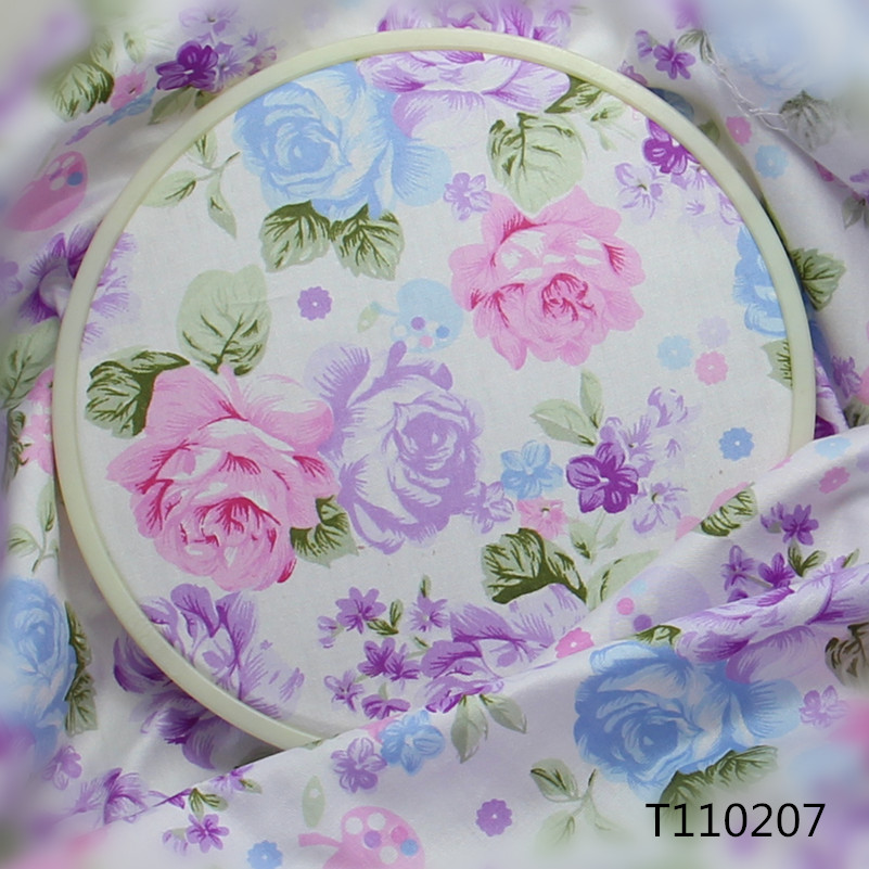 Cheap Cotton Fabric Floral Purple Print Twill Tissu For Patchwork