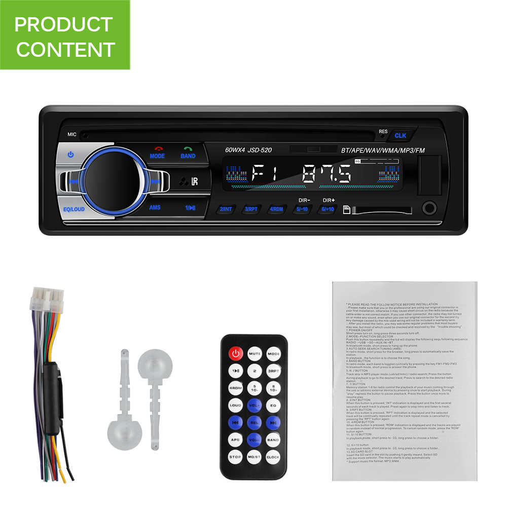 Onever 60WX4 Car Radio Bluetooth Car Stereo In-Dash 1 Din FM MP3 Aux Input Receiver SD USB MP3 MMC WMA Car Radio Player 12V