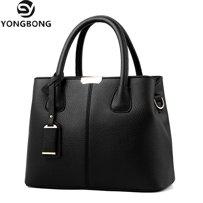 YONGBONG Fashion PU Leather Top-handle Women Handbag Solid Ladies Lether Shoulder Bag Casual Large Capacity Tote Crossbody Bags peckhamrye genuine leather women bag fashion women handbag large shoulder bags elegant ladies tote sacthel purse top handle bags