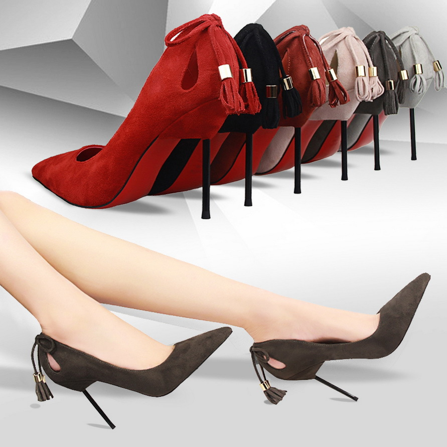 BIGTREE Brand Shoes Elegant Lady High Heels Women Pumps Tassel Thin Heel Pointed Toe High Heel Party Shoes Woman 2017 shoes women med heels tassel slip on women pumps solid round toe high quality loafers preppy style lady casual shoes 17