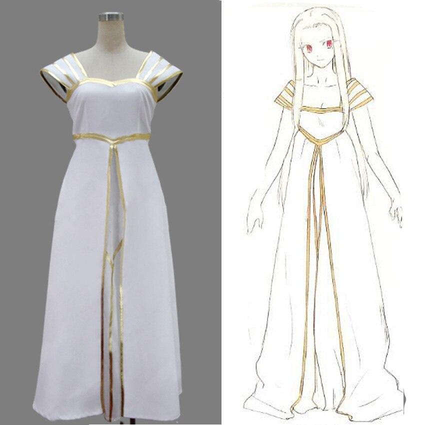 Halloween cosplay Fate Zero Irisviel von Einzbern cosplay costume white princess long dress sexy costumes women