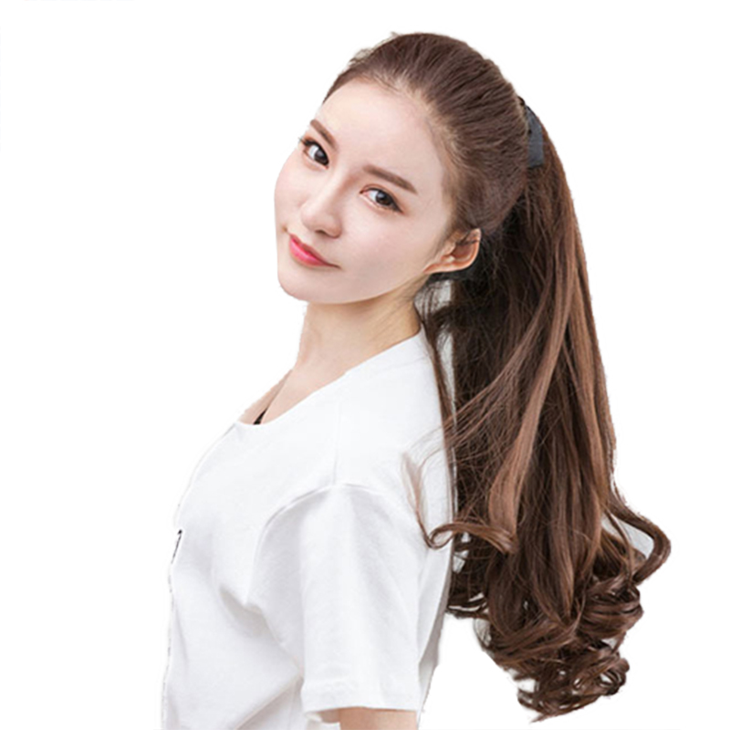 JINKAILI WIG Ponytail Long curly High Temperature Fiber Synthetic Wrap Around Hairpieces Wavy Fake Hair Ponytail Extensions