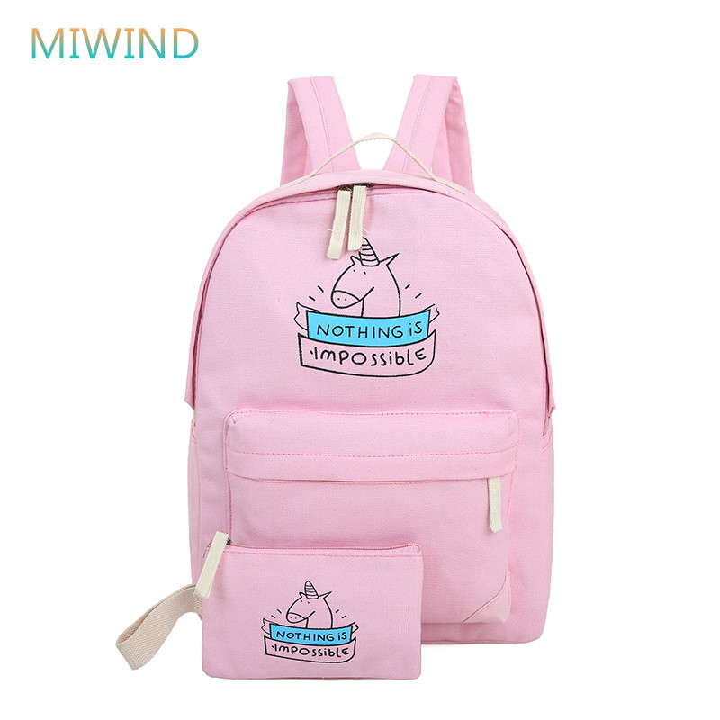 MIWIND Women Canvas Backpack For School Teenagers Cute Stylish Ladies Bag Set Female Printing Backpack Mochilas Escolar CB214 2017 new women printing backpack canvas school bags for teenagers shoulder bag travel bagpack rucksack bolsas mochilas femininas