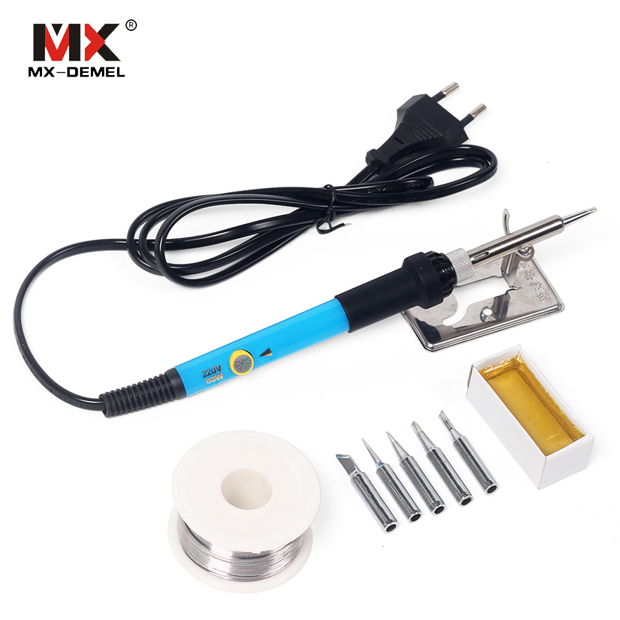 MX-DEMEL 110V 220V 60W Electric Soldering Iron Adjustable Temperature Solder Stand + 5pcs Iron Tip Stand Solder Wire Rosin Set brand new 1pcs wire with stand set welding soldering solder iron tip cleaner cleaning steel hot selling