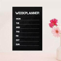 Placa da receita 31x45cm da placa da mensagem das etiquetas do quadro negro do pvc do planejador da semana reusável de 1 pces