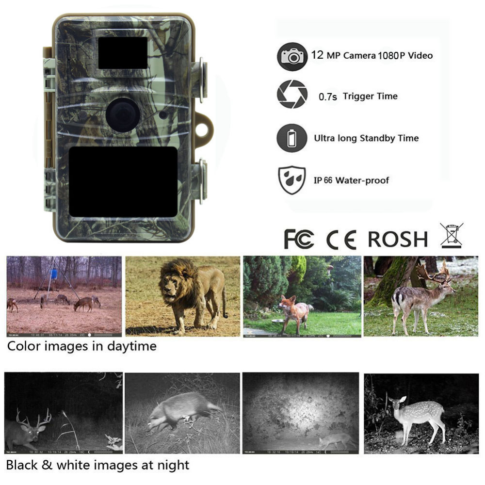 a546babd790 Tensdarcam Wildlife Hunting Camera HD 12MP Photo Trap Night Vision  Waterproof IP66 Digital Hunter Trail Cam. sku  32837206713