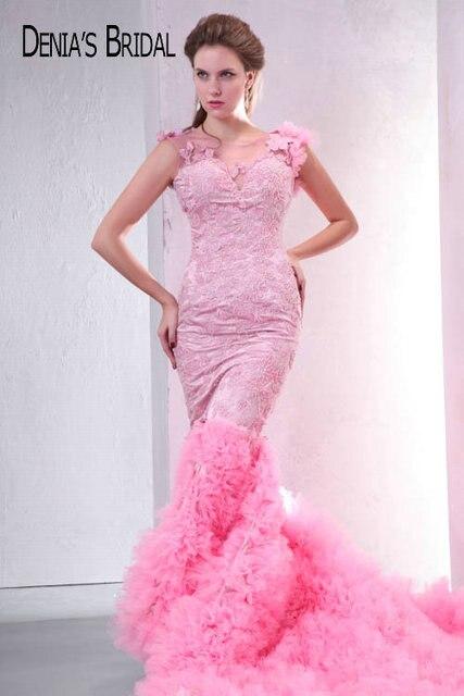 Fotos reais rosa querida frisado apliques sem costas sereia vestidos de noite andar de comprimento capela trem longo vestidos de baile