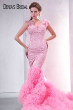 Real Photos Pink Sweetheart Beaded Appliques Backless Mermaid Evening Dresses Floor Length Chapel Train Long Prom Gowns