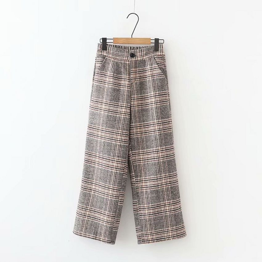Korean Autumn Winter Pants Elastic Waist Plaid Wide Leg High Pants Pantalon Ladies Streetwear Loose Female Women Bottoms B8D405 1