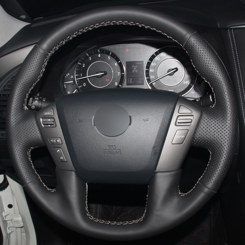 2005 Infiniti Qx Interior: Black Synthetic Leather Car Steering Wheel Cover For