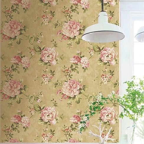 6228 papier peint vintage fleur jaune rose 3d papier peint non tisse pour chambre papier peint 1 piece 0 53 m 10 m roll