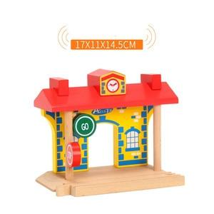 Image 3 - EDWONE  One Wood Railway Gas Station Clock Police Train Car Slot Railway Accessories Original Toy Kids Gifts Fit   BIRO