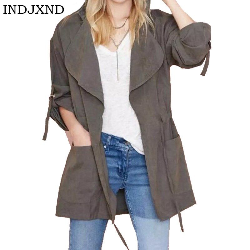 INDJXND Spring Autumn   Jacket   Long   Jackets   And Coats Female Coat Casual Army Green Bomber   Jacket   Women   Basic     Jackets   Outwear S-XL