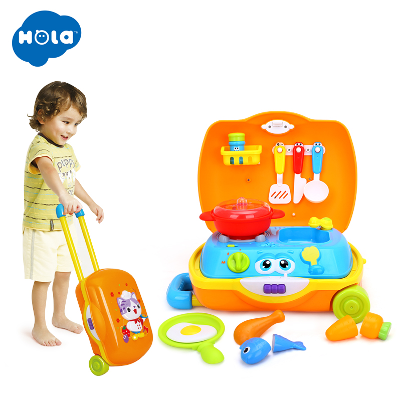 HOLA 3108 Baby Toys Kids Traveling Picnic Cooking Suitcase Toy included stove utensils plates toy meal