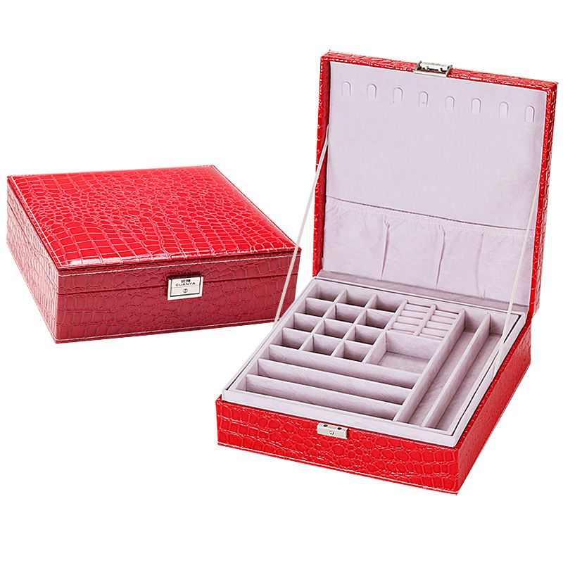 BC639 NEW Brand Leather Storage Boxes Square Shape Wood Jewelry Box Wedding Gift Makeup Storage Bin Earrings Ring Organizer automatic curler led steam hair curlers perm curl hair rolloer styler hair curlers with plastic spiral waves travel hair curlers