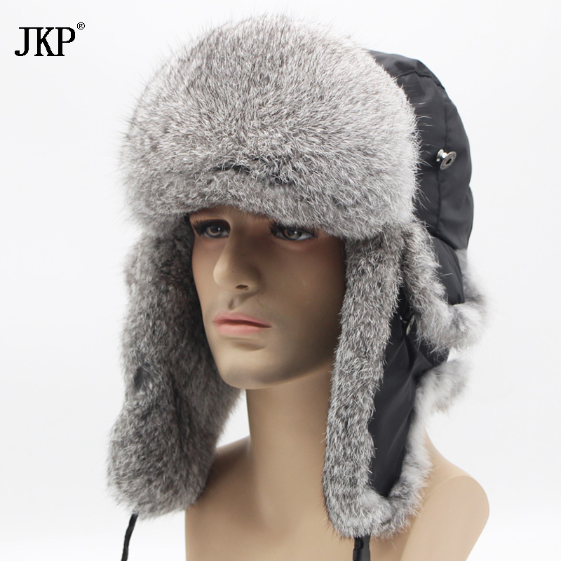 JKP 2018 Bomber thick fashion Rabbit Fur hat winter warm rex snow cap Ear Flap caps russian for men hat new discount YT-001