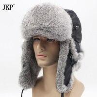 JKP 2018 Bomber thick fashion Rabbit Fur hat winter warm rex snow cap Ear Flap caps russian for men hat new discount YT 001