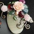 Natural Pedra Semi-preciosa Pingente jaspe inperial Tourmaling Sea Shell Flor Broche Pinos Para Mulheres Jóias Frete Grátis