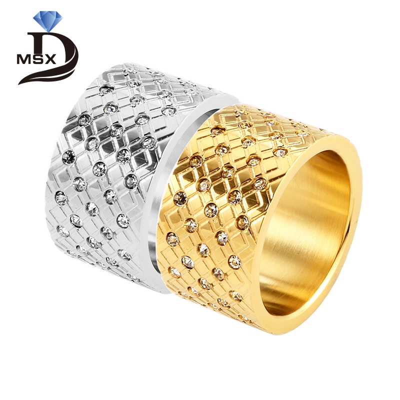 Woman Fashion Gold Plating Stainless Steel Rings CZ Inlaid 6 7 8 9 Size 12mm European Si ...