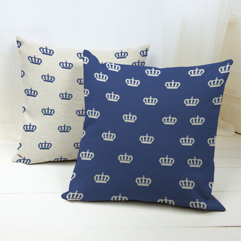 18*18 Vintage Decorative Blue Crown Royal Throw grey cushions Cushion Cover Pillow Case for Bedding Sofa Home Decorations