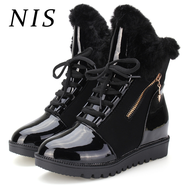 все цены на NIS Faux Fur Snow Winter Boots Women Shoes Casual Lace up Sport Shoes Woman Ankle Boots For Women Shoes Sneakers Botas Mujer New