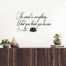 Бесплатная доставка Цитата Будды с лотоса Наклейка на стену, йога стикер ум все ..