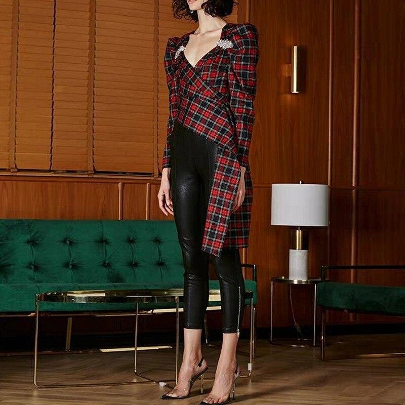 Haute qualité nouvelle mode 2019 Designer Blouse femmes v-cou Plaid asymétrique Blouse chemise piste diamants dame Blouses hauts - 3