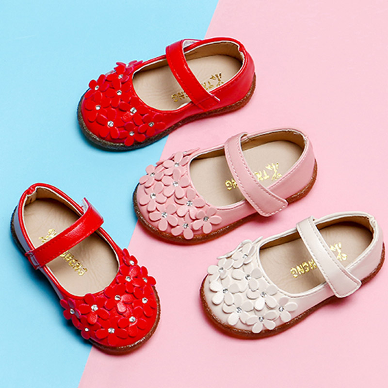 2018 New Style Girls Shoes Baby Toddlers Princess Shoes Flowes Single Shoe Bling Flats Children Mary Janes White Red Pink Mch062 With The Most Up-To-Date Equipment And Techniques