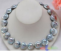 AAA++ HUGE REAL 18 20mm gray south sea mabe pearl NECKLACE>>>Lovely Women's Wedding Jewelry Pretty