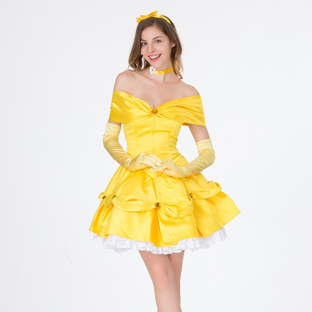 Belle Costume Adult Beauty and The Beast Princess Halloween Fancy Dress