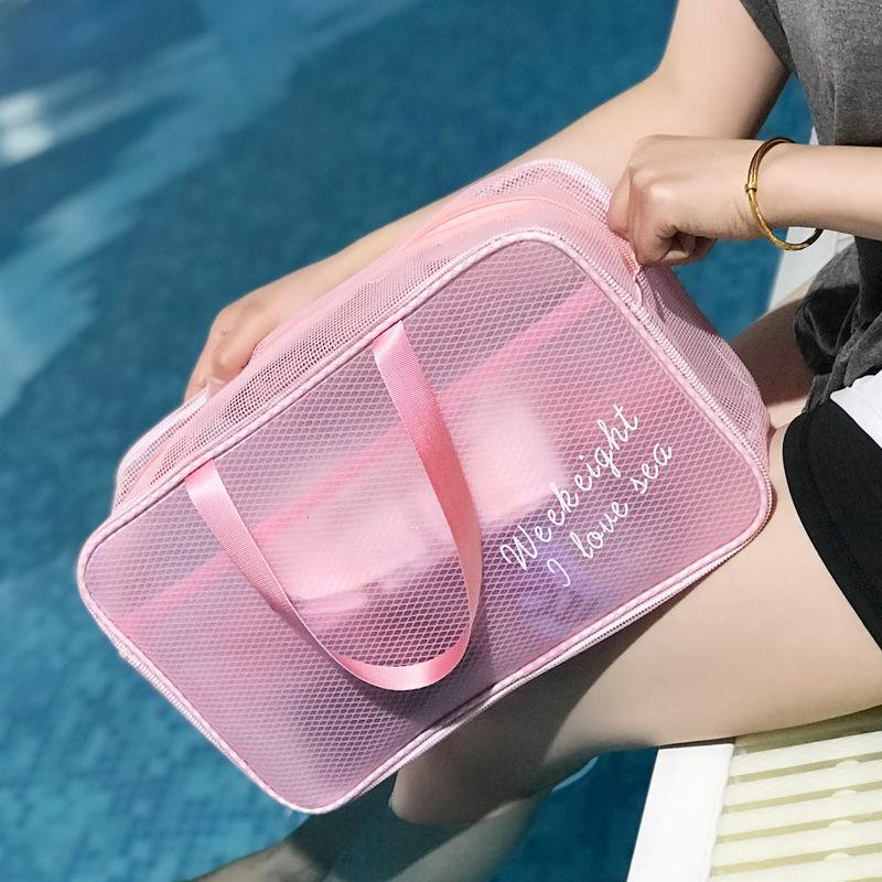 2 PCS Portable Waterproof Swimming Storage Bag Transparent Handbags Wash Bags Cosmetic Travel Sack Dry Wet Mesh Net Pool XA511WA