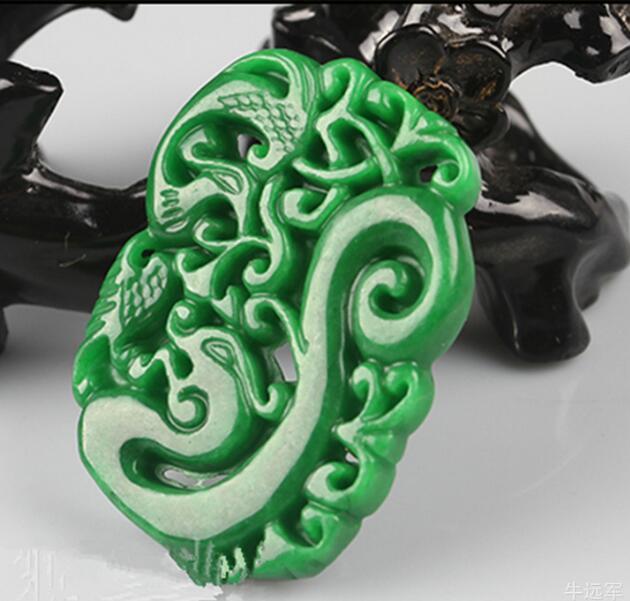 Belle chinois artisanal 100/% naturel Vert jade jade Colliers