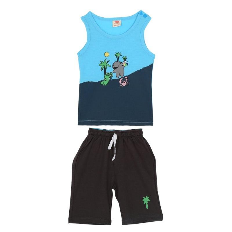 Для малышей Одежда для мальчиков Одежда Набор кокосовой пальмы Pattern рукавов Топы Корректирующие + Брюки для девочек