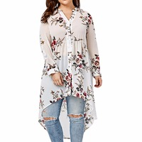 2017 Plus Size Women S Floral Print Blouse Stand Collar Long Sleeved Irregular Loose Type Shirt