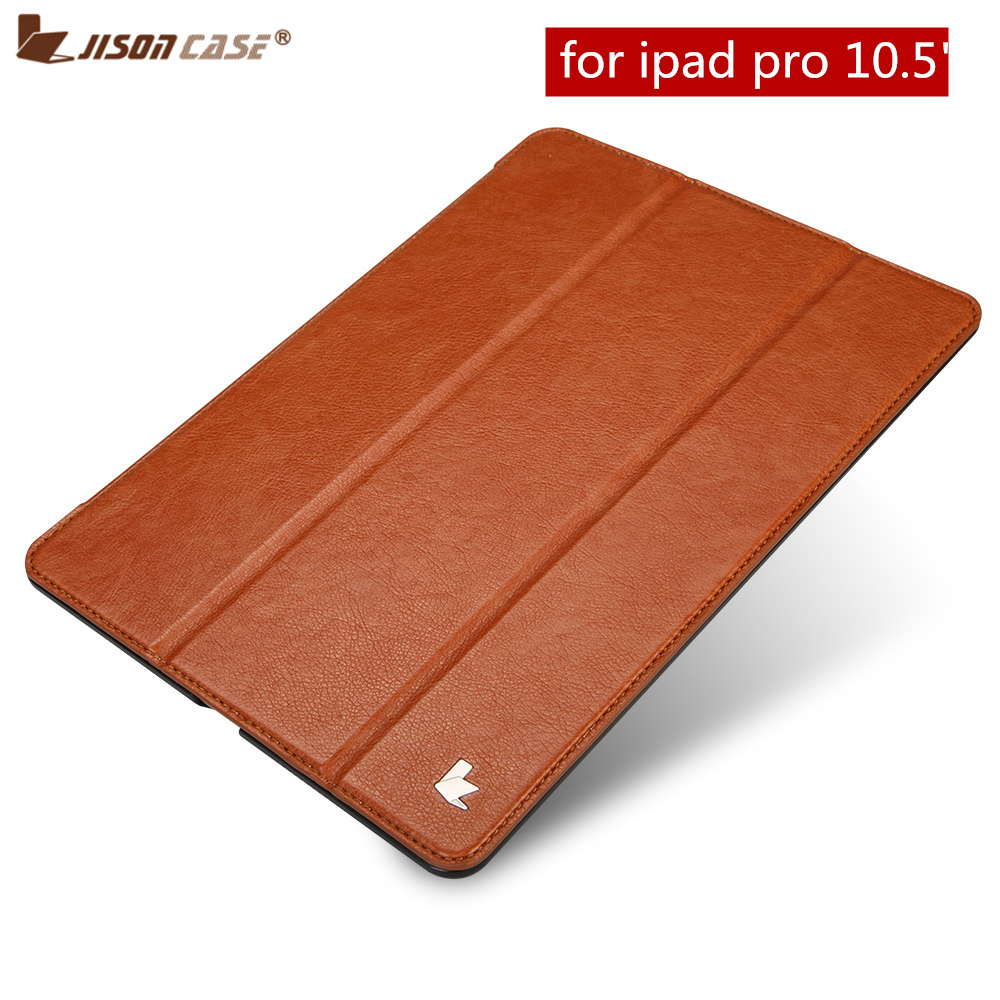 Folio Flip for iPad Pro 10.5 Case Jisoncase PU Vegan Leather Smart Cover Auto Wake Tablet Cases Shell for Apple iPad 10.5 inch case for ipad pro 12 9 cases leather protective shell skin for apple ipad pro 12 9 inch tablet case smart cover protector sleeve