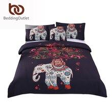 Beddingoutlet 4 шт. богемный постельных принадлежностей Слон Дерево черный с принтом Boho постельное белье мягкое покрывало twin полный королева король