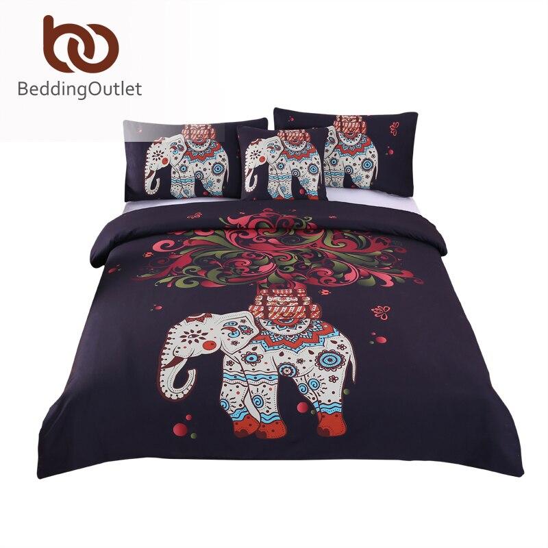 BeddingOutlet 4 Pieces Bohemian Bedding Set Elephant Tree Black Printed Boho Duvet Cover Set Soft Bedspread Twin Full Queen King