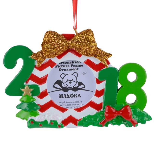 Wholesale Resin 2018 Picture Frame Christmas Ornaments Personalized Gifts  For Home Decor, Christmas Celebration