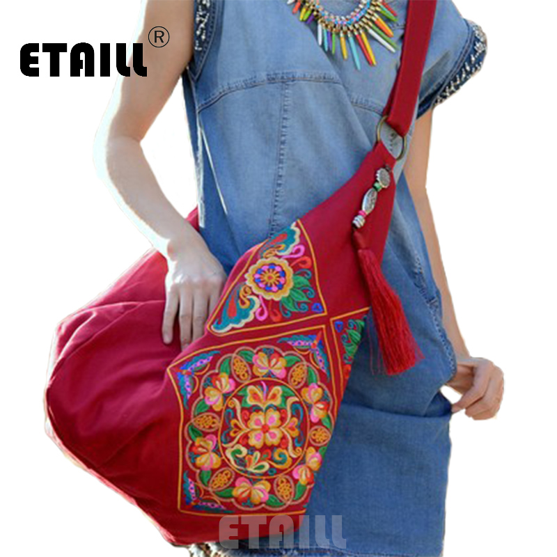 National Chinese Canvas Ethnic Embroidery Bag Boho Thailand Embroidered Women Messenger Bags Cross Body Bags Sac a Dos Femme vintage chinese hmong tribal ethnic thailand indian boho handmade embroidery bell shoulder messenger tote bag sac a dos femme