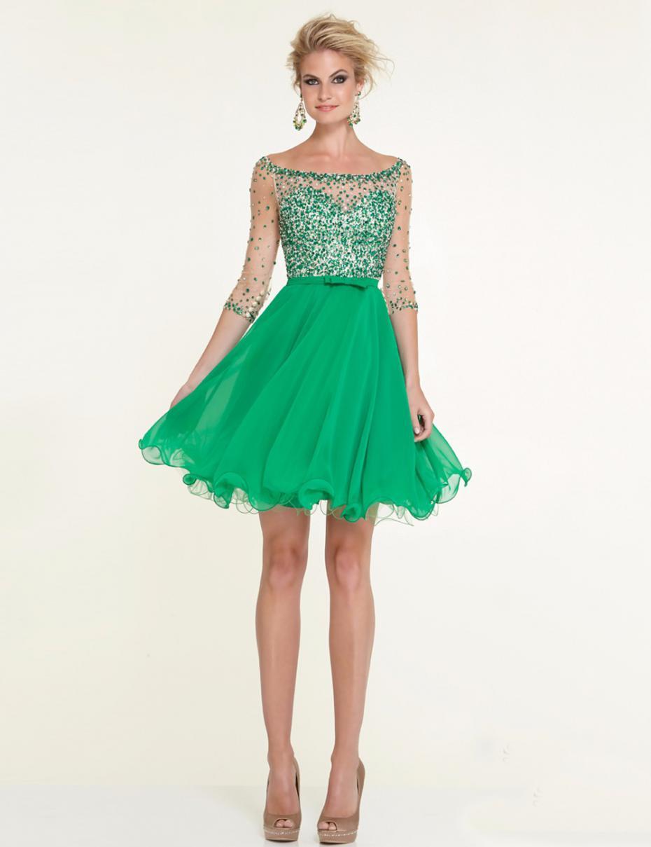 Robe de soiree vert emeraude courte