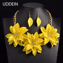 UDDEIN Maxi Choker Inlaid Necklace Women Luxury Vintage Flower Necklace & Pendant Statement Wedding Jewelry Acrylic Collares