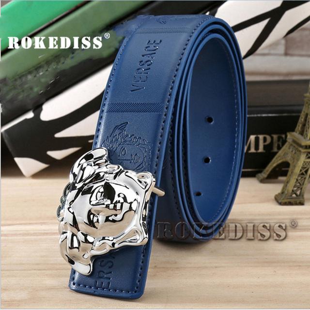 Nuevos productos clásicos populares Cinturón Hombres Cinturón De Cuero Genuino de Mediana Edad pantalones vaqueros Salvajes Genuino hebilla Lisa Pantalones E020