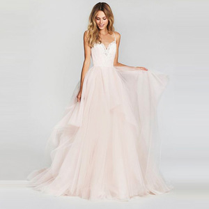 Image 3 - LORIE A Line Wedding Dress 2019 New Arrival Vestido De Noiva Simple Bridal Dress Puffy Tulle Beach Wedding Dresses Lace Top