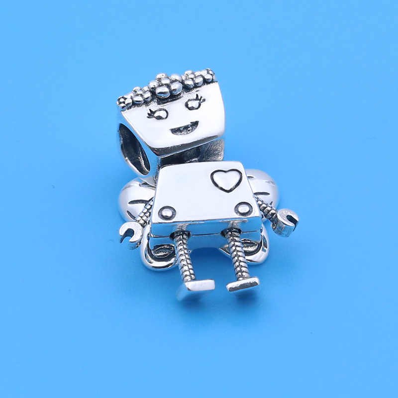 925 Sterling Silver Bead Robot with Butterfly Wings Pendant Charm Fit Original Pandora Bracelets DIY Jewelry