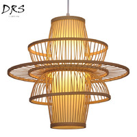 Bamboo Chandelier Lights Southeast Asia Tea Room Bamboo Study Pendant Lamp Kitchen Creative Bamboo Decor Home Industrial Lamp