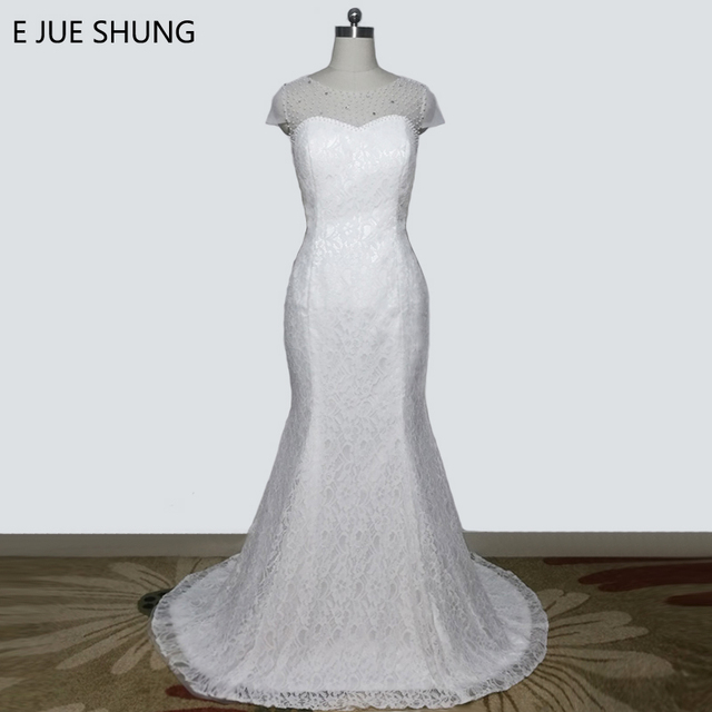E JUE SHUNG White Lace Pearls Mermaid Wedding Dresses 2018 Cap Sleeves Cheap Gowns Robe