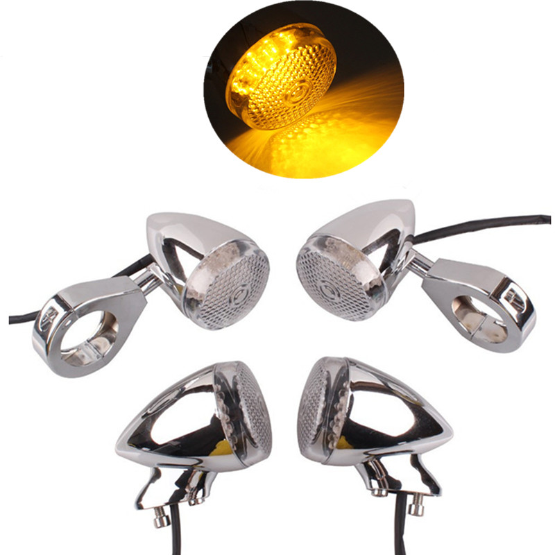 4Pcs Chrome Motorcycle LED Turn Signal Indicator Light With 39mm/41mm Fork Clamp Bracket For Honda Shadow Valkyrie Sabre Harley